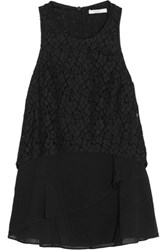 Derek Lam 10 Crosby By Empire Layered Corded Lace And Cotton Blend Top Black