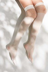 Urban Outfitters Pattern Block Fishnet Over The Knee Sock Cream