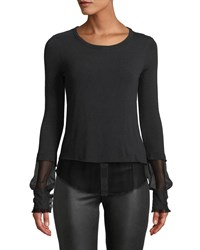 Bailey 44 Double Speak Mock Two Piece Sweater Black