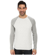Calvin Klein Jeans Color Block Crew Neck Light Grey Heather Men's Long Sleeve Pullover Gray
