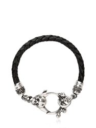John Richmond Braided Leather And Skull Bracelet Black Silver