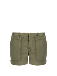 Nili Lotan Utility Stretch Cotton Twill Shorts Khaki