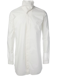 Rick Owens High Collar Shirt White