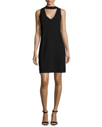 Milly Sleeveless Structured Stand Collar Shift Dress Black