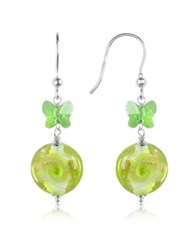 House Of Murano Vortice Lime Swirling Murano Glass Bead Earrings