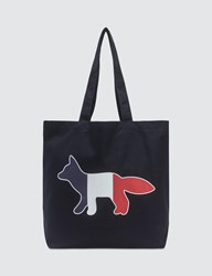 Maison Kitsune Tricolor Fox Tote Bag Blue