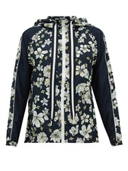 The Upside Ash Peony Print Technical Hooded Jacket Blue Multi