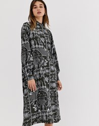 Weekday Porcelain Print Midi Dress In Deep Grey Multi