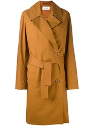 Christophe Lemaire Dislocated Fastening Midi Coat Women Cotton 36 Brown