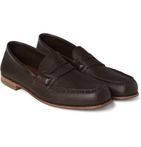 J.M. Weston 281 Le Moc Grained Leather Loafers Chocolate