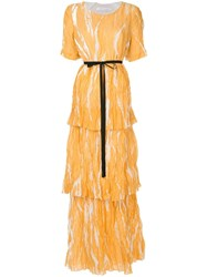 Christopher Esber Ruched Long Dress Yellow And Orange