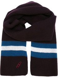 Brioni Striped Ribbed Scarf Pink And Purple