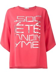 Socia Ta Anonyme Oversized Front Print T Shirt Pink And Purple
