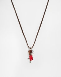 Asos Leather Necklace Brown