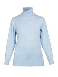Loewe Logo Embroidered Roll Neck Sweater Light Blue