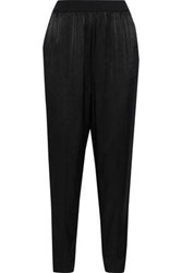 By Malene Birger Ietos Satin And Crepe De Chine Straight Leg Pants Black