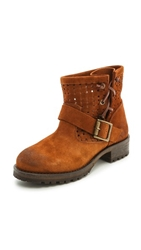Jeffrey Campbell Perforated Suede Lug Sole Booties Tan
