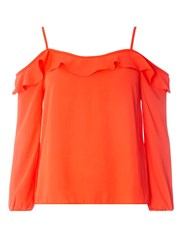 Dorothy Perkins Red Strappy Frill Cold Shoulder Top