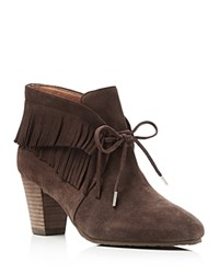 Gentle Souls Bettie Fringe High Heel Booties Dark Brown