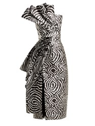 Halpern Metallic Zebra Bustier Midi Dress Silver Multi