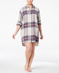 Dkny Plus Size Patterned Flannel Boyfriend Sleepshirt Oatmeal Plaid