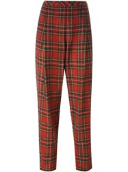 Rosetta Getty Pleated Front Tartan Trousers Red
