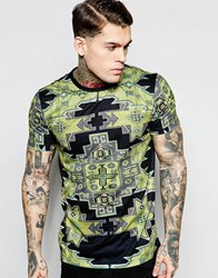 Jaded London T Shirt With Tapestry Print Green