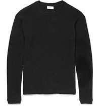 Fanmail Slim Fit Waffle Knit Organic Cotton Sweatshirt Black