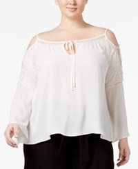 Beauty And The Beast Trendy Plus Size Lace Trim Peasant Top Egret