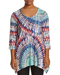 Nally And Millie Plus Ribbed Tie Dye Tunic Print