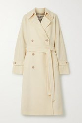 Acne Studios Orane Oversized Belted Double Breasted Wool Twill Coat Cream
