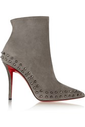 Christian Louboutin Willeta 100 Spiked Suede Ankle Boots Gray