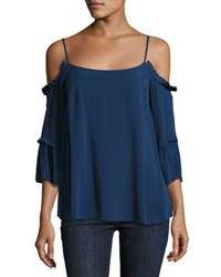 1.State Cold Shoulder Ruffled Blouse Navy