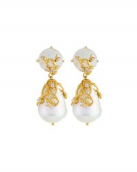 Indulgems Moonstone And Baroque Pearl Double Drop Earrings Multi