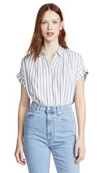 Madewell Central Button Down Bayside Stripe Faded Indigo