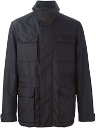 Canali Patch Pocket Windbreaker Blue