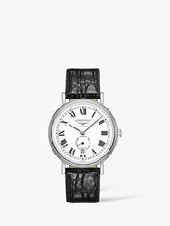 Longines L49054112 'S Presence Automatic Date Leather Strap Watch Black White