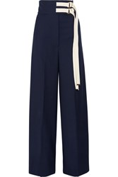 Marni Canvas Trimmed Wool Wide Leg Pants Navy