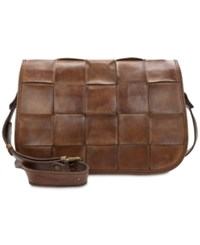 Patricia Nash Woven Vitellia Square Flap Crossbody Brown