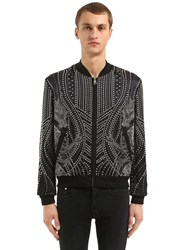Just Cavalli Dragons Studded Viscose Bomber Jacket Black