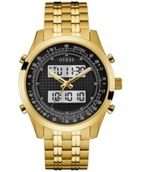 Guess Men's Analog Digital Gold Tone Stainless Steel Bracelet Watch 45Mm U0859g1