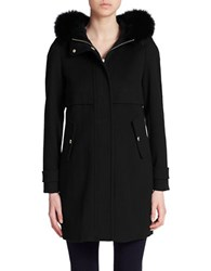 Marella Fox Fur Trimmed Wool And Cashmere Coat Black