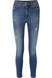 Dolce And Gabbana Audrey Distressed High Rise Skinny Jeans Blue