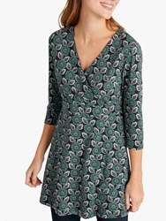 Seasalt Marram Glass Tunic Top Woodcut Floral Ruscus Leaf