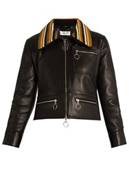 Wales Bonner Crochet Collar Leather Biker Jacket Black