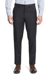 Wallin And Bros Wool Flannel Flat Front Trousers Gray