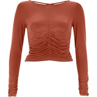 River Island Womens Copper Ruched Front Fitted Top