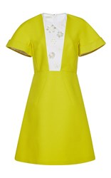 Delpozo Short Sleeve Embroidered A Line Dress Yellow