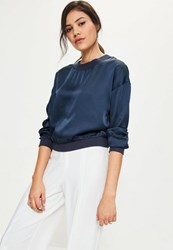 Missguided Navy Satin Long Sleeve Crop Top