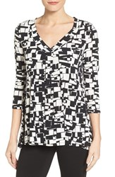 Chaus Women's Topiary Blocks V Neck Top